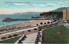 English Bay Pier - love the old cars. and the continuous Vancouver problem - parking. Vancouver Bc Canada, Vancouver City, Vancouver Island, Old Pictures, Old Photos, Vintage Photos, O Canada, Most Beautiful Cities, Local History