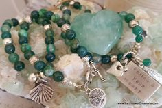 Inspirational green agate gemstone healing jewellery with joy & love energy.