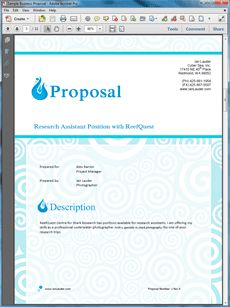 Research Assistant Sample Proposal - Create your own custom proposal using the full version of this completed sample as a guide with any Proposal Pack. Hundreds of visual designs to pick from or brand with your own logo and colors. Available only from ProposalKit.com (come over, see this sample and Like our Facebook page to get a 20% discount)