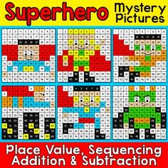 Math Centers - Superhero Math Mystery Pictures Worksheets: A SUPER fun activity for the 100th day of school! Using the hundreds chart, student will practice place value, sequencing, addition or subtraction with these fun Superhero Mystery Pictures. These activities are perfect for math centers, early finishers or homework.