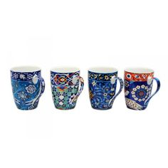 Anna Chandler Mugs Set 'Blue Tile' - These are the best mugs ever! Thanks Ann :)