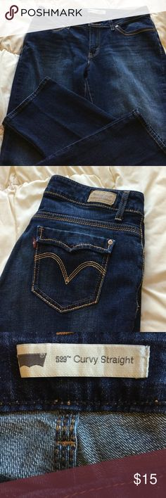 Jeans Levi's 529 curvy straight Levi's 529 jeans. Two button fits at waist.  Back pocket flaps decorative only.  Inside size tag is 12/M W31/L32.  Measures W31/L30.  Gently worn only slight fading.  Cotton 99 percent no stretch. Levi's Jeans Straight Leg