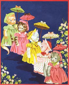The five little kitty cats all dressed up.