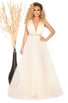 Rochie Ely bej lunga cu tull si decolteu in V Lei, Prom Dresses, Formal Dresses, Fashion, Moda, Formal Gowns, La Mode, Black Tie Dresses, Fasion