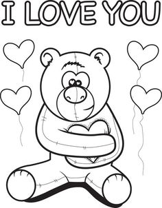 free printable valentines day teddy bear coloring page for kids print it for free - Free Get Well Coloring Pages