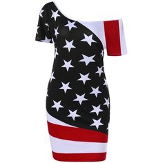 Patriotic Skew Neck Bodycon Plus Size American Flag  Dress ($16) ❤ liked on Polyvore featuring dresses, bodycon dress, women plus size dresses, usa flag dress, american flag print dress and body con dresses
