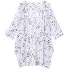 Olrain Women's Floral Print Sheer Chiffon Loose Kimono Cardigan Capes ($15) ❤ liked on Polyvore featuring tops, cardigans, floral kimono, floral print cardigan, kimono top, white cardigan and kimono cardigan