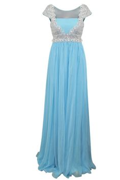 Powder Blue Bridesmaid Dresses | Powder Blue Floor Length Evening Dress With Silver Jewels (80990)