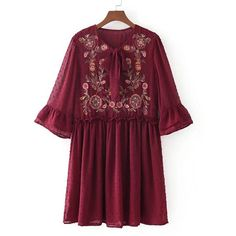 SheIn(sheinside) Embroidered Flower Textured Dot Smock Dress (700 UAH) ❤ liked on Polyvore featuring dresses, burgundy, short summer dresses, burgundy dress, bohemian dresses, purple dresses and short sleeve dress
