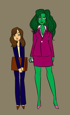 She Hulk & Kitty Pryde.  THIS is how I believe female superheros should be depicted.  NOT in a skin tight, slit to the belly button unitard.  So thanks, whoever!