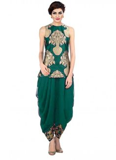 Buy Art Silk Green & Golden Dhoti Pant