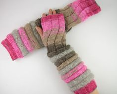 long knit fingerless gloves knit arm warmers knit fingerless mittens mohair pink beige grey brown on Etsy, $44.56 CAD