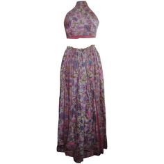 Vintage 1960s Donald Brooks Psychedelic Print Halter Palazzo Pants from The Vintage Carousel on Ruby Lane