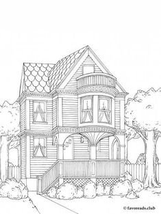 adult coloring pages free printable houses the best free adult coloring book pages architecture houses adult printable free coloring pages House Colouring Pages, Cute Coloring Pages, Free Coloring, Coloring Sheets, Coloring Books, Printable Adult Coloring Pages, House Drawing, Illustration, Victorian House