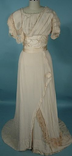 Antique Dress - worn in 1909, a gorgeous beaded wedding gown with provenance.