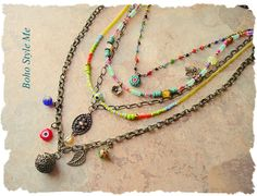 Exploding with color, and boho style, this necklace is a wonderful reflection of the sixties, and seventies. Inspired by memories, and my love of color, this long, multi strand, bohemian necklace is perfect for today's creative fashion. This necklace uses a vintage beaded chain, along with genuine blue turquoise heishi, Czech glass seed beads, chevron beads, trade beads, frosted glass beads and antique brass chain, charms and pendant. A brass hinged poison box pendant is surrounded by beaded…