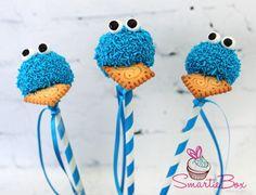 Blue cookie monster Cake Pops - SmartieBox Cake Studio