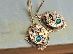 steampunk earrings  FRAGMENTS OF TIME  rose gold 17 by junesnight