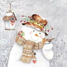 4 Lunch Paper Napkins for Decoupage Party Table Craft Snowman Holding Robin Christmas Scenes, Christmas Pictures, Christmas Snowman, Winter Christmas, Vintage Christmas, Christmas Crafts, Christmas Decorations, Christmas Ornaments, Watercolor Christmas Cards