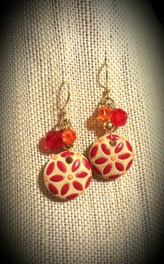 Tan Ceramic with Orange and Red Painted Flowers with Red and Orange Swarovski Crystal Clusters on Gold Finished Steel French Wire Earrings by FlowerFelicity