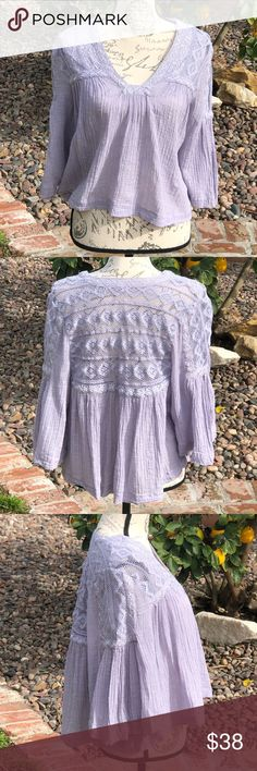 47b9daf917eec Free People periwinkle boho top With gorgeous lace detail, a slightly  cropped hi-low flow to this on-trend beautiful top. Nobody does boho style like  Free ...