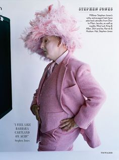 "Made in Britain by Tim Walker for Vogue UK December 2013 - here Stephen Jones in wool suit bt King & Allen.  ""I feel like Barbara Cartland on acid!"" - Stephen Jones"
