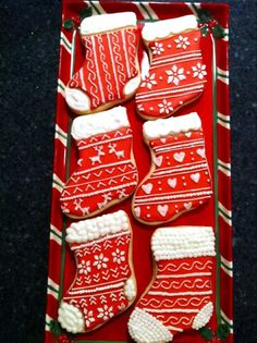 Inspiration Picture of Christmas ~Sweater Stocking Cookies Christmas Biscuits, Christmas Sugar Cookies, Christmas Sweets, Holiday Cookies, Christmas Baking, Gingerbread Cookies, Christmas Stocking Cookies, Christmas Eve, Fancy Cookies
