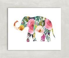 Elephant Silhouette Wall Art Print, Baby girl nursery Poster, Trunk Up- Watercolor Florals 8x10 Print ((unframed)). A beautiful watercolor floral elephant print with trunk up which means good luck! I love elephants especially with the trunk up. Would look beautiful in a nursery or childs room or an elegant living room. Size 8x10 VERY IMPORTANT! SIDE EFFECTS OF PRINTS REVEALED! Dear friend, please note that these items could seriously beautify your room, set you in a great mood, or…