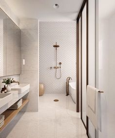 neutral bathroom bathroom, Great Minimalist Modern Bathroom Ideas - Home of Pondo - Home Design Contemporary Bathroom Designs, Bathroom Tile Designs, Bathroom Interior Design, Bathroom Styling, Contemporary Bathrooms, Contemporary Interior, Contemporary Bar, Contemporary Building, Contemporary Cottage