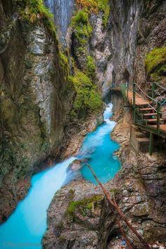 Canyon Path, Leutasch Gorge, Bavaria, Germany.