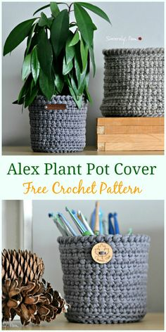 Crochet Alex Plant Pot Cover Free Pattern – Crochet Plant Pot Cozy Free Patterns See other ideas and pictures from the category menu…. Faneks healthy and active life ideas Crochet Basket Tutorial, Crochet Basket Pattern, Knit Basket, Crochet Flower Patterns, Crochet Flowers, Crochet Baskets, Crochet Planter Cover, Crochet Plant Hanger, Crochet Home