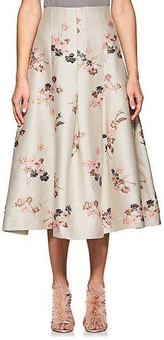 a9004d7ded Co Women's Floral-Jacqurd Pleated Midi Beige Skirt Box Pleats, Box Pleat  Skirt,