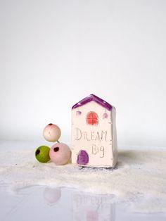 DREAM BIG Purple Ceramic House Unique by VitezArtGlassDesign
