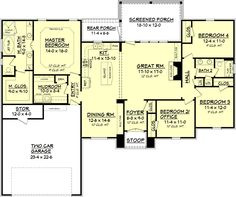 European Plan: 2,000 Square Feet, 4 Bedrooms, 2 Bathrooms - 041-00082