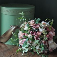 This gloriously scented hand tied bouquet is simply stunning and combines the best of our pale pink and antique garden roses tied with foliage freshly picked from our farms and presented in one of The Real Flower Company desirable keepsake hat box.