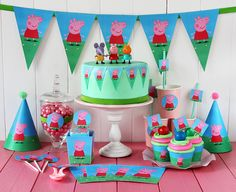 Juego de imprimibles gratis para fiesta de Peppa Pig // Free printable party kit Peppa Pig