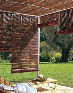 For the outdoor or patio landscaping the pergola gazebos are mostly used and being famous in people especially for shading in the garden or deck purposes. Some rooftop pergola gazebos designs are very charming in regard in shades. As the shade covers Outdoor Rooms, Outdoor Gardens, Outdoor Living, Outdoor Decor, Outdoor Blinds, Patio Blinds, Outdoor Curtains, Blinds Diy, Sheer Blinds