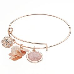 Fireball Disc Cluster Adjustable Bangle Bracelet, Light Pink