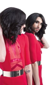 """Photoshoot for the Conchita's first debut album """"Conchita"""". Hot Transgender, Eurovision Song Contest, Eurovision 2014, French Maid Dress, Toms, Photo Colour, Debut Album, Androgynous, Crossdressers"""