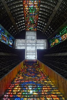 Cathedral of Saint Sebastian - Rio de Janeiro, Brazil Sacred Architecture, Church Architecture, Amazing Architecture, Modern Architecture, Beautiful Buildings, Beautiful Places, Floors And More, St Sebastian, Church Interior
