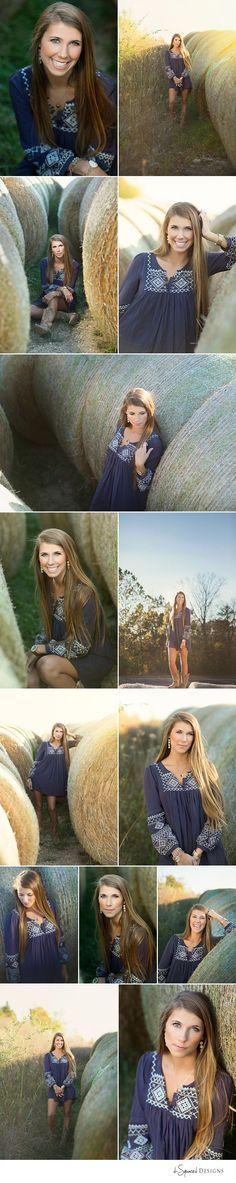 d-Squared Designs St. Louis, MO Senior Photography. Farm senior session. Hay-bails. Gorgeous senior.