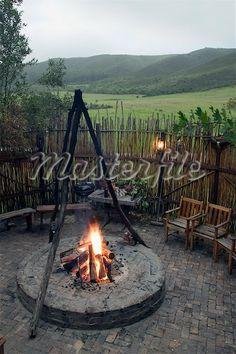 boma with stick fence Outdoor Fire, Outdoor Areas, Outdoor Living, Outdoor Decor, Garden Gates And Fencing, Fences, Garden Art, Garden Ideas, African House