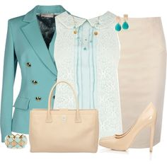 """""""Colorful Blazer and Nude Pumps"""" by daiscat on Polyvore"""