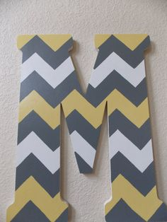 Hand painted wooden letter with chevron by DareToDreamStudios, $50.00
