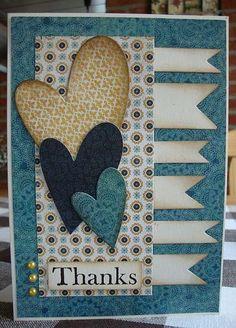 Handmade card with hearts