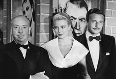 Grace Kelly with Alfred Hitchcock and Oleg Cassini