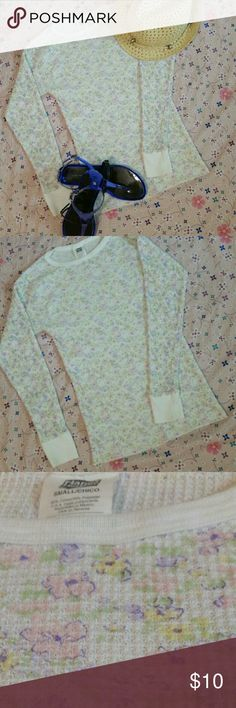 Just in! Hanes Her Way Pastel Long John Shirt-C Gently preloved. About 2 times worn. Perfect condition.  No rips,tears,or, stains. It is a small, however it would fit really well on someone that is extra small. That would account for a little bit of looseness. It is supposed to be form-fitting. This long john is super cute. You don't need to just wear it under clothes it can be your shirt. Pastel flowers all over it make it look super cute. Enjoy! *LIKE THE SANDALS!? THEY HAVE THEIR OWN…