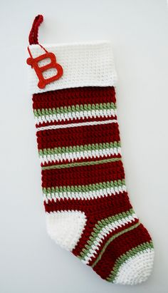 Ravelry: Striped Christmas Stocking pattern by B.hooked Crochet