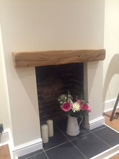 Solid Oak Beam Floating Shelf Mantle Piece Fire Place Surround – various sizes - Home Professional Decoration Empty Fireplace Ideas, Oak Beam Fireplace, Oak Mantle, Unused Fireplace, Fireplace Shelves, Bedroom Fireplace, Diy Fireplace, Fireplace Tiles, Fireplace Decorations