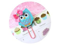 Turquoise Owl Planner Clip, Paper clips for Planners, Planner accessories, Felt Paperclip, Owl Bookmark, Felt planner Clips